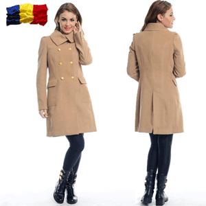 Paltoane dama iarna din lana culoare bej