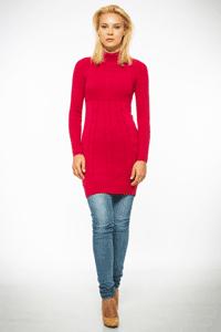 Pulover lung pana la genunchi, pentru femei, culoare rosie