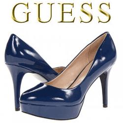 Pantofi lacuiti cu toc GUESS Donally albastru inchis