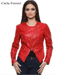 Jacheta piele LYNN Carla Ferreri de culoare rosie pentru sezonul primavara toamna