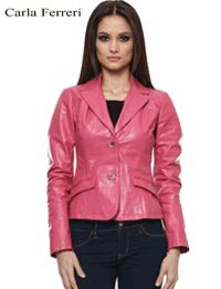 Jacheta roz dama piele de miel pentru primavara toamna