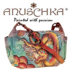 Geanta din piele Anuschka cu desene si culori indiene