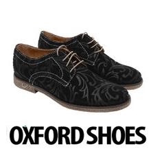 Pantofi dama Oxford Black Flowers din piele naturala pentru femei