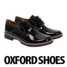 Pantofi din piele Oxford Lexi de culoare neagra, pentru femei, piele lacuita