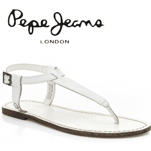 Sandale dama din piele alba Pepe Jeans Basic