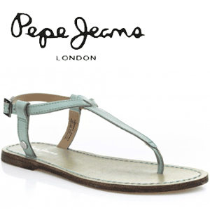 Sandale femei din piele bleu Pepe Jeans Basic