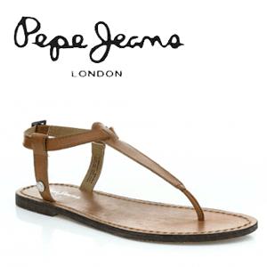 Sandale din piele maron Pepe Jeans Basic