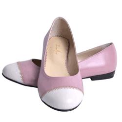 Balerini femei din piele Denia roz cu alb