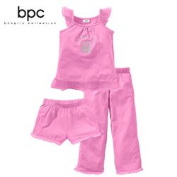 Costum de pijama 3 piese pentru fetite