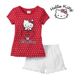 Pijama pantalon scurti Hello Kitty pentru fetite 4 - 14 ani