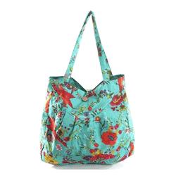 Geanta de plaja Turquoise Floral Pattern