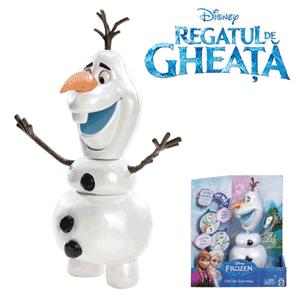 Papusa Interactiva, Olaf, Disney Regatul De Gheata (Frozen) .Lui OIaf ii plac imbratisarile calde. Adus la lumina de puterile magice ale lui Elsa, Olaf este de departe cel mai prietenos om de zapada care strabate muntii, mai sus de Arendelle. Nevinovatia, personalitatea deschisa si capacitatea stranie de a se dezmembra in momente bune si mai putin bune creeaza unele momente ciudate, desi amuzante. Este posibil ca el sa aiba, de asemenea, visul cel mai imposibil din lume, dar ceea ce el nu stie, nu-l va topi, nu-i asa?