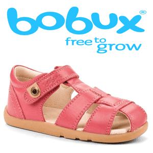 Sandalute fetite marca Bobux Roz aprins din piele naturala premium