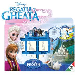Valiza cu activitati Multiprint Frozen, cadouri si jucarii pentru fetite cu varsta peste 3 ani. Valiza de activitati de colorat Disney Frozen contine 7 stampile din lemn si cauciuc, 3 carioci lavabile, o tusiera cu cerneala non-toxica si lavabila si un carnetel.