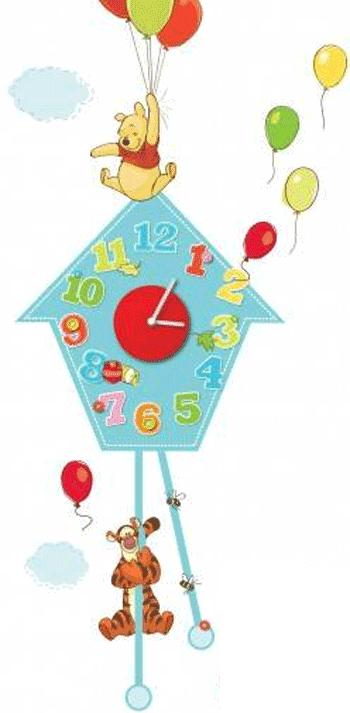 Ceas de perete autocolant camera copiilor - Winnie de Plus