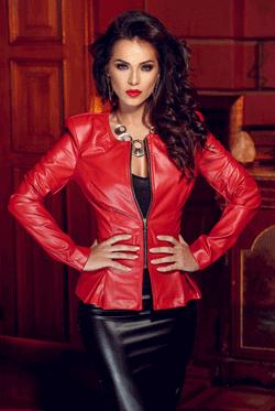 Jacheta din piele ecologica lucioasa Myra de culoare rosie