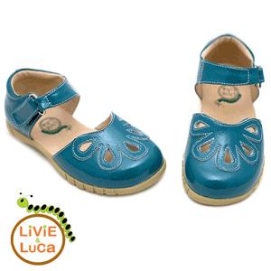 Sandalute din piele turcoaz pentru fetite Petal