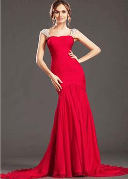Rochie de lux Special Red sirena cu trena, voal si aplicatii strassuri