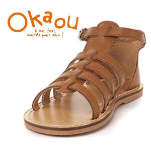 Sandale romane din piele pentru fete Okaou la eMAG