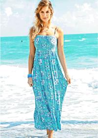 Rochie lunga de plaja culoare turcoaz