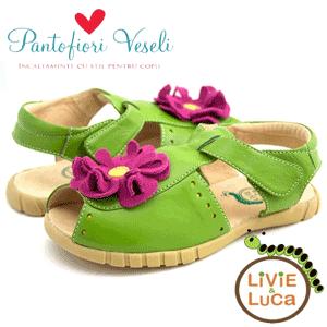 Sandale din piele naturala cu floricica de culoare verde, livie and luca, fetite 2-8 ani fete 9-14 ani