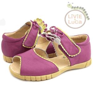 Sandalute violet din piele pentru fetite cu floricica
