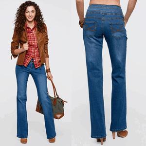"""Jeans stretch """"Abdomen plat"""". Un model frumos, ce redă optic un abdomen mai ferm, datorită taliei late. Foarte confortabili, se simt normal pe coapse. Cu două buzunare în față și două buzunare la spate. Se spală la mașina de spălat."""