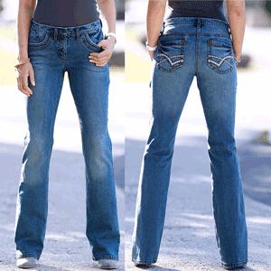 Jeans stretch cusături decorative și croi evazat, cu buzunare rotunde și cusături în culori contrastante, tiv ușor evazat, broderie modernă pe buzunarul de la spate, talie ceva mai joasă.