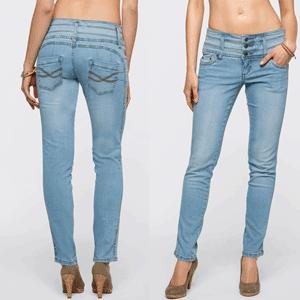 """Jeanşi stretch Abdomen, picioare, fese """"skinny"""" de la John Baner. Blugii crează o siluetă frumoasă! Talia lucrată rafinat modelează abdomenul. Piciorul este subțiat optic, datorită cusăturii speciale, iar cusăturile de la spate crează un posterior sexy."""