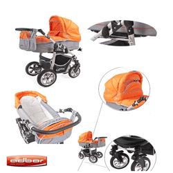Carucioarele complete Adbor Arte 3x3 - landou, model sport, roti gonflabile, diverse culori