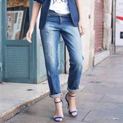 Jeansi dama model BoyFriend - blugi pentru femei cu model uzat