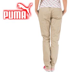 Pantaloni croiala Boyfriend Puma Pants model casual de culoare bej