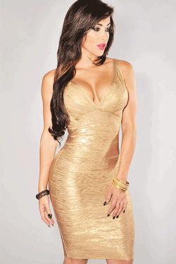 Rochie Bandage Gold Shimmering - sclipitoare de culoare aurie