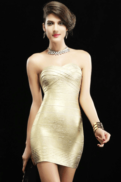 Rochie modelatoare Bandage Strapless Gold
