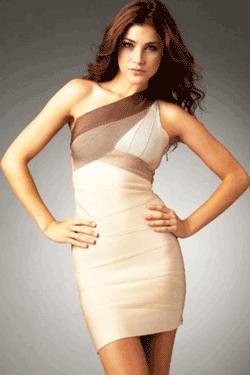 Rochie modelatoare Bandage - model clasic pe un umar
