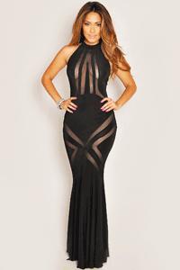 Rochie eleganta de seara Black Mesh Pattern