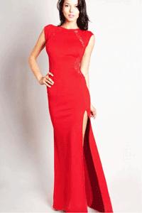Rochie de seara rosie eleganta cu dantela