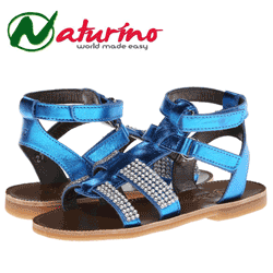 Sandale Naturino din piele pentru fetite de culoare albastru