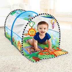 Tunel de activitati 2 in 1 pentru bebelusi (tunel si gimnastica) Aventura in Safari, marca Baby Einstein