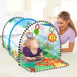 Tunel de activitati pentru bebelusi 2 in 1  (joaca si gimnastica) Aventura in Safari Baby Einstein