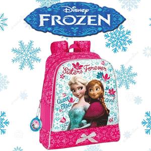 Ghiozdan rucsac mare Disney Frozen cu un compartiment principal si un buzunar exterior inchis cu fermoar. Dimensiune: 32x42x14 cm.