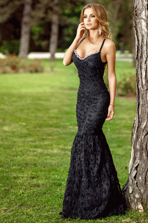 Rochie lunga sirena dantela neagra