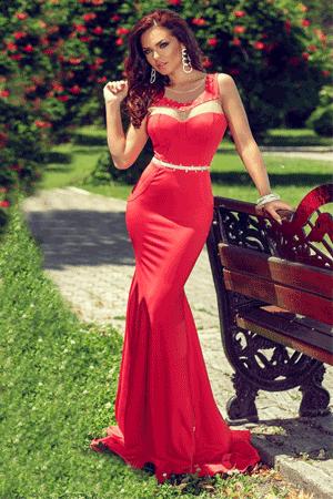 Rochie deosebita cu croiala sirena de culoare rosie