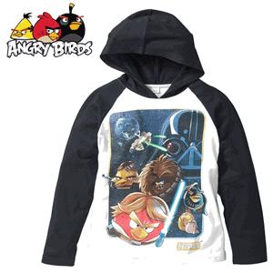 """Bluza Angry Birds cu mâneci lungi pentru copii. Bluză cool cu un aspect sport prevăzută cu mâneci raglan lungi şi glugă de culoare diferită. În faţă cu un motiv haios inspirat de jocul """"Angry birds"""". 100% bumbac."""