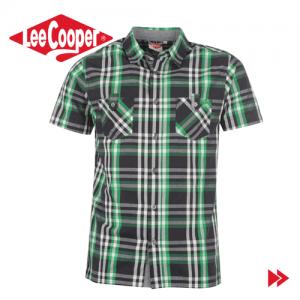 Lee Cooper Short Sleeve Check camasa verde barbati