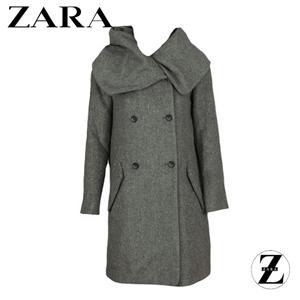Palton de dama din lana marca Zara, model Simpo Grey de culoare gri.