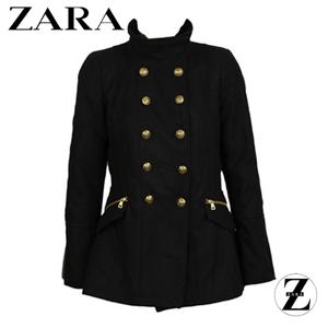 Palton de toamna Zara Tela Black pentru femei cu nasturi aurii, croi simplu si aspect elegant