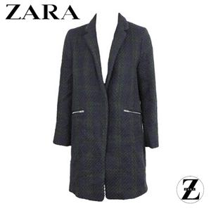 Palton Zara Colle Dark Blue, palton de dama de culoare albastru inchis cu buzunare in fata si croiala simpla, clasica.