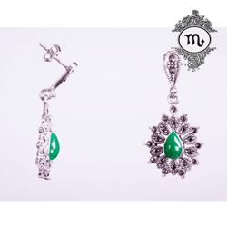 Cercei argint cu agat verde pentru Zodia Scorpion