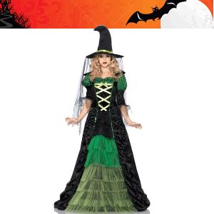 Costum de vrajitoare rochie lunga cu guler